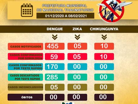 Boletim Dengue, atualizado em 01/12/2020 até 08/02/2021