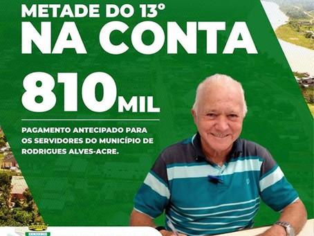 Prefeitura de Rodrigues Alves realiza pagamento antecipado do 13° salário na sexta-feira (17/07)