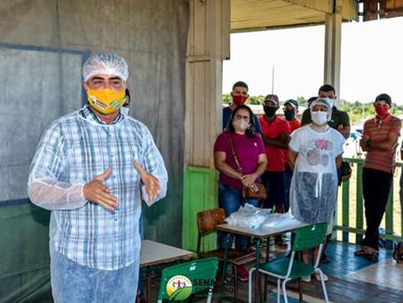 Prefeitura de Senador Guiomard entrega os kits de higiene e os kits de merenda escolar