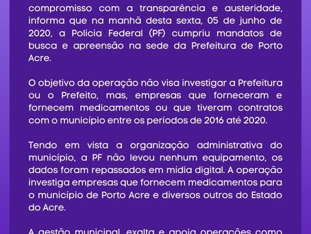 Nota de esclarecimento- Prefeitura de Porto Acre