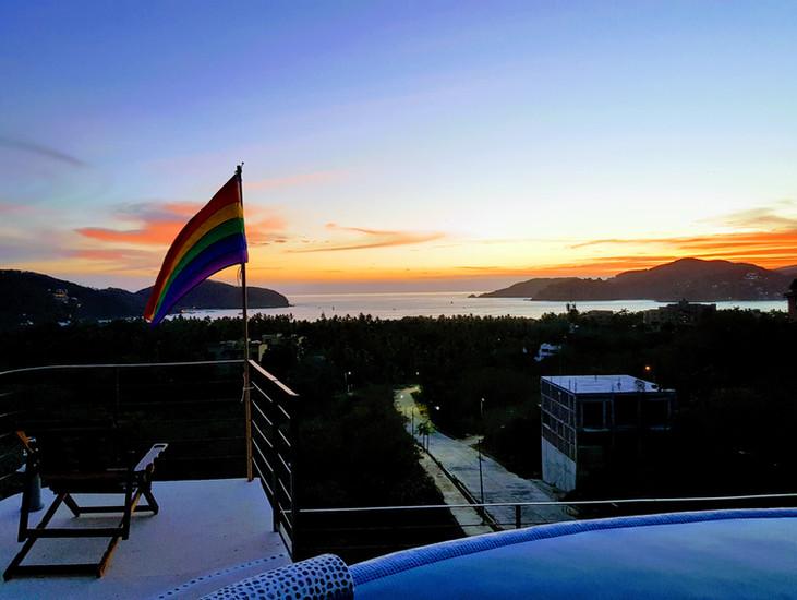 Rainbow flag sunset