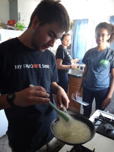 Day 1 (9/24/17) - Matt cooks while Emma and Sabrina remove debris