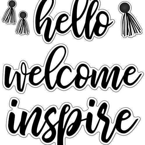 Simply Stylish Script Words: Hello Bulletin Board Set