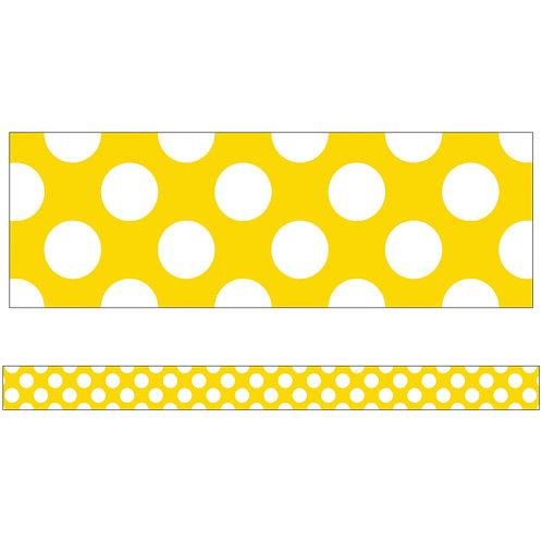 Yellow with Polka Dots Straight Borders