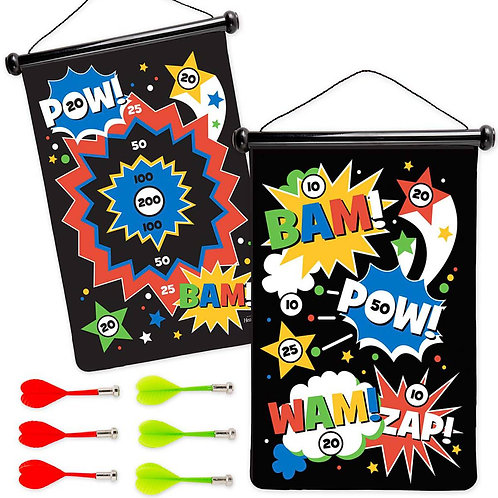 Double-Sided Magnetic Canvas Target Game - Superhero