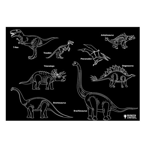 REVERSIBLE DINOSAUR AND BLANK CHALKBOARD PLACEMAT