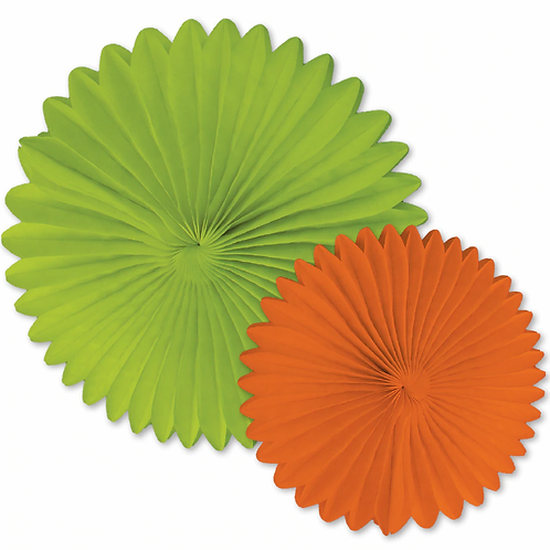 Orange and Lime Fans Dimensional Accent