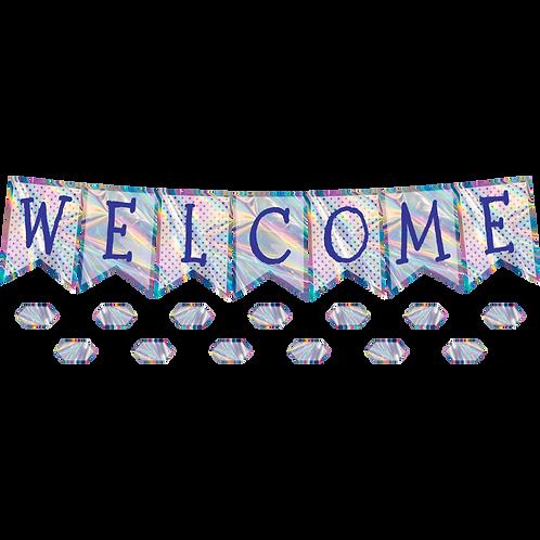 Iridescent Pennants Welcome Bulletin Board Display