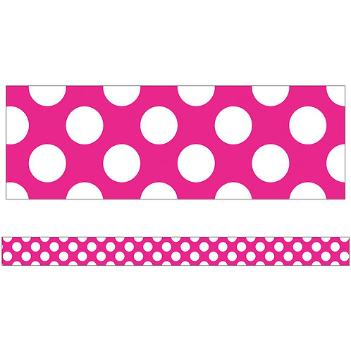 Hot Pink with Polka Dots Straight Borders