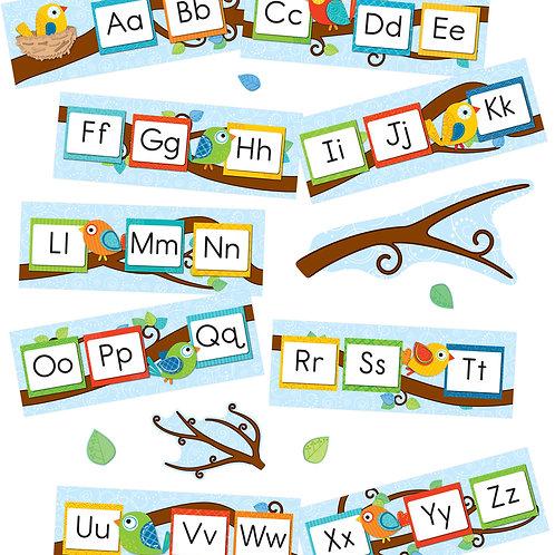 Boho Birds Alphabet Bulletin Board Set