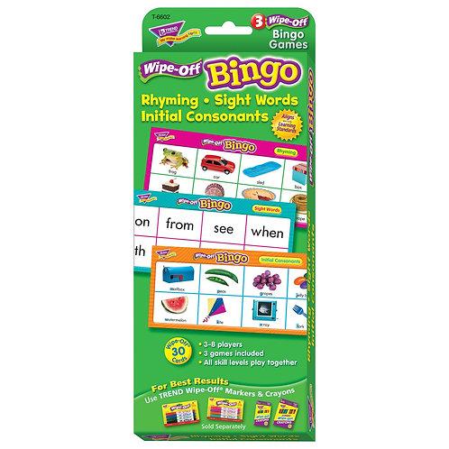 Rhyming, Sight Words, Initial Consonants Wipe-Off Bingo