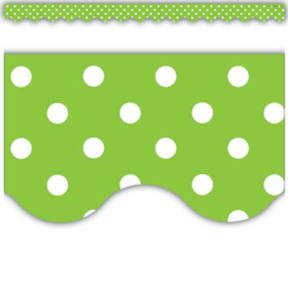 Lime Polka Dots Scalloped Border Trim