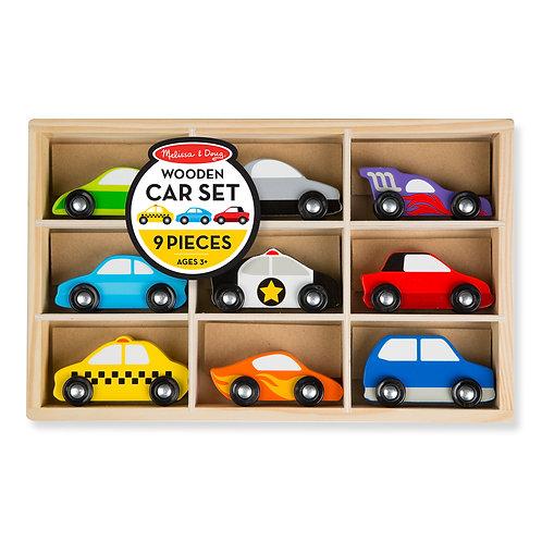 Wooden Cars Set - 9 Pieces
