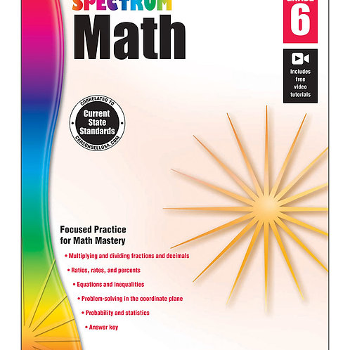 Spectrum Math Workbook Grade 6