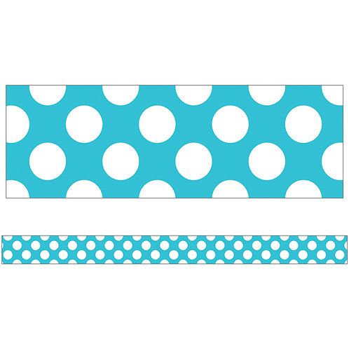Teal with Polka Dots Straight Borders