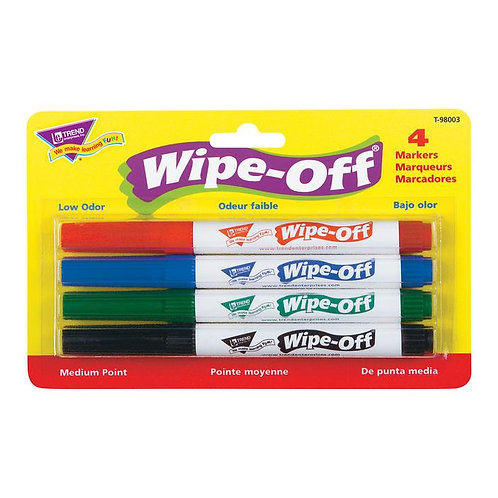 4-Pack Standard Colors Wipe-Off Markers