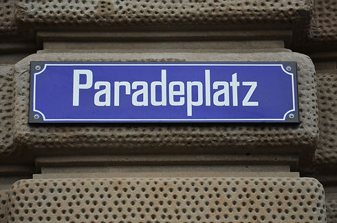 Paradeplatz street sign on Credit Suisse