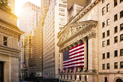 Famous Wall street and the building in N