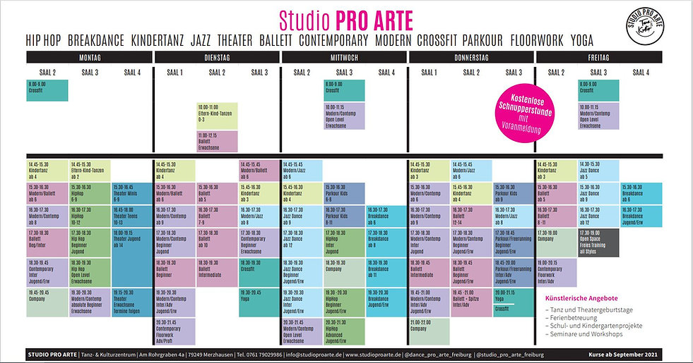 Studio Pro Arte Stundenplan
