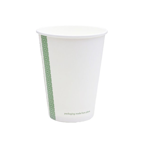 Стакан з переробленого паперу та покриттям PLAдля гарячих напоїв, білий,360мл