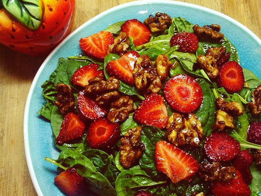 Spinach and Strawberry Salad with Candied Walnuts (vegan, GF)