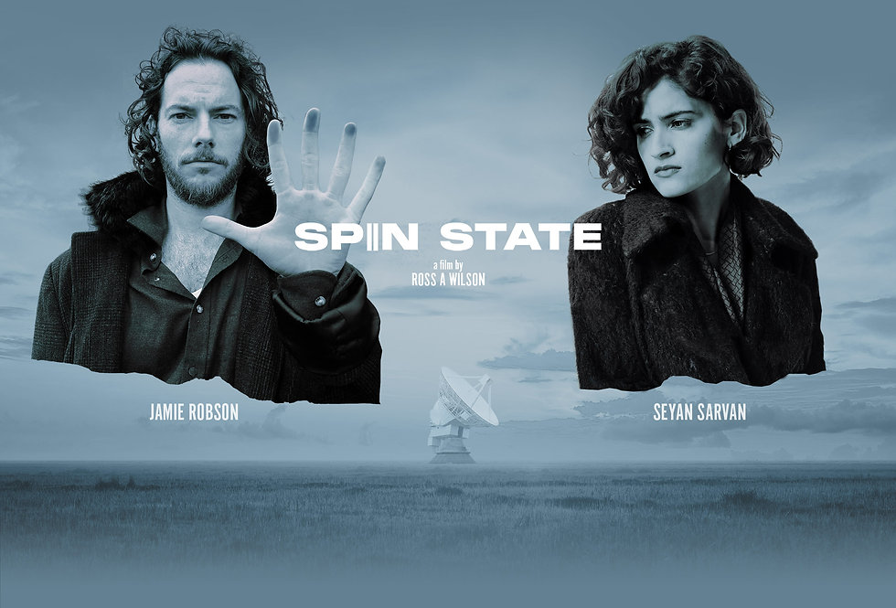 Spin State film artwork featuring Jamie Robson & Seyan Sarvan, disembidied floating over fields and a radiotelescope.