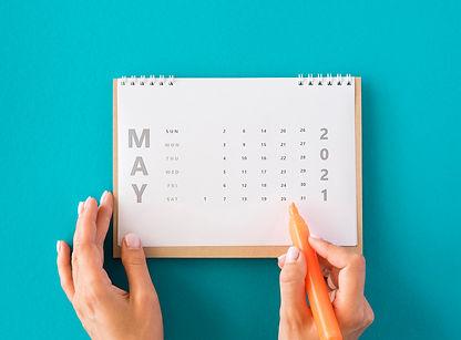 top-view-planner-calendar-blue-backgroun