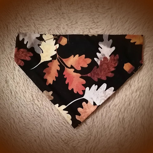 Autumn Leaves on Black Bandana