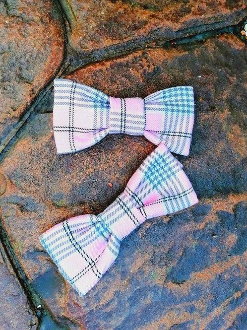 Pale Pink Tartan Bow