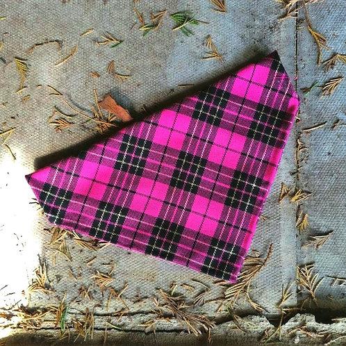 Dark Pink Tartan Bandana