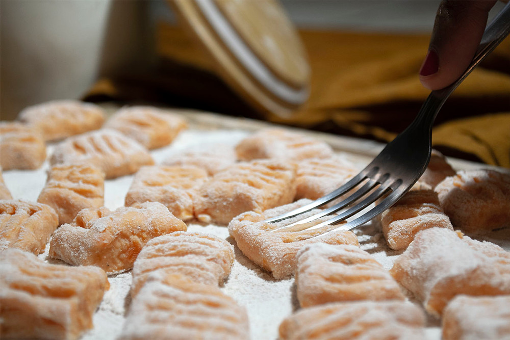 Préparation gnocchis patate douce