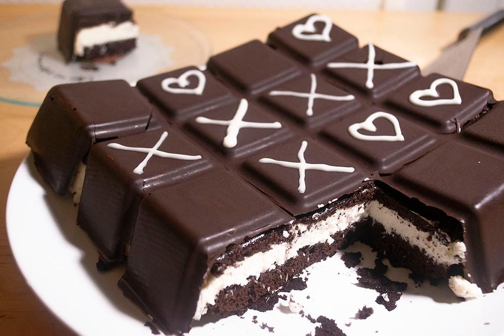 Gâteau Kinder Délice géant découpe
