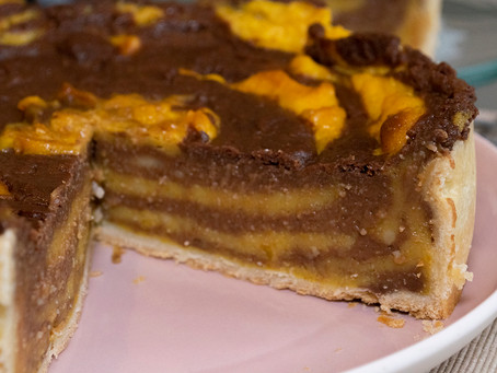 Flan pâtissier marbré chocolat butternut