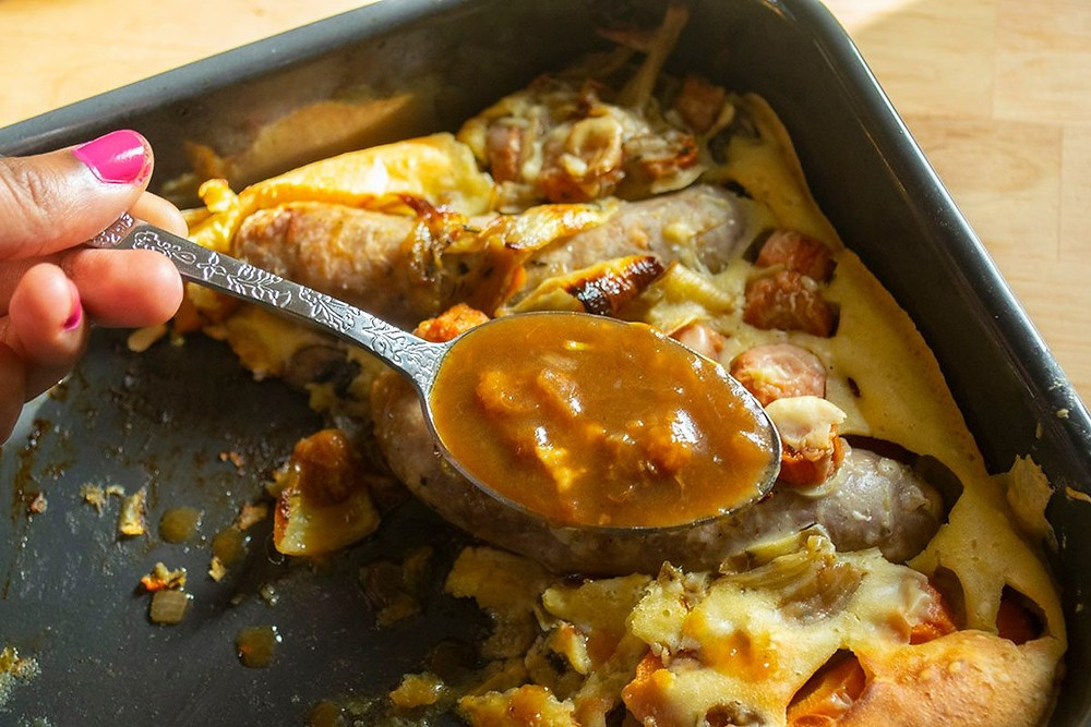 Toad in the hole et sauce brune
