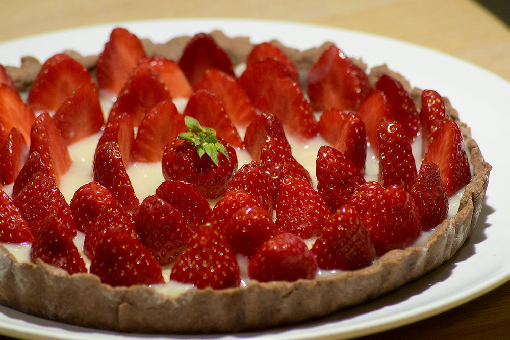 Tarte aux fraises pâte cacao