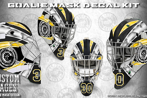 BASIC-Goalie Mask Vinyl Decal Set (white/yellow)