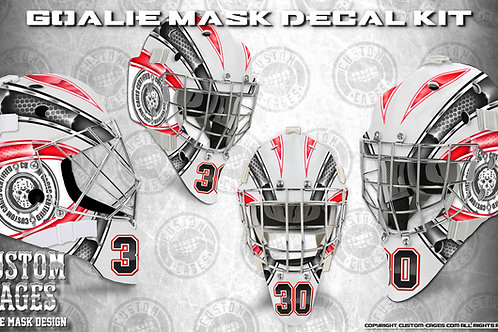 BASIC-Goalie Mask Vinyl Decal Set (red/black)