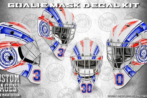 BASIC-Goalie Mask Vinyl Decal Set (red/blue)