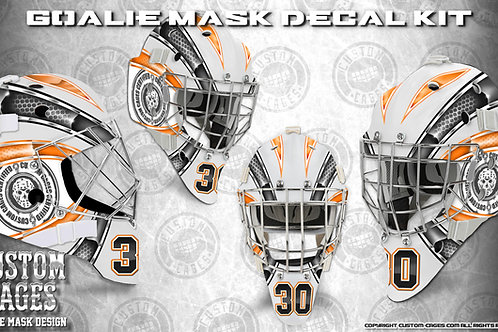BASIC-Goalie Mask Vinyl Decal Set (orange/black)