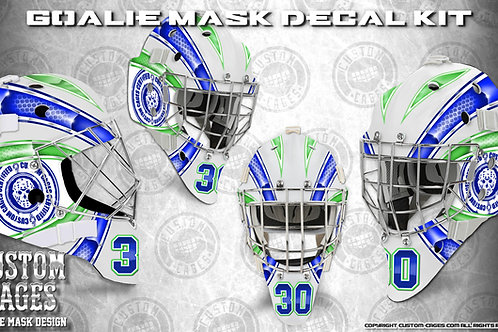 BASIC-Goalie Mask Vinyl Decal Set (blue/green)
