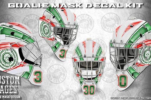 BASIC-Goalie Mask Vinyl Decal Set (red/green)