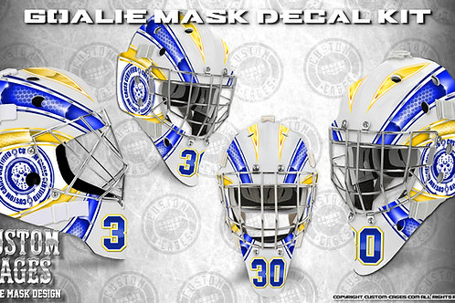 BASIC-Goalie Mask Vinyl Decal Set (blue/yellow)