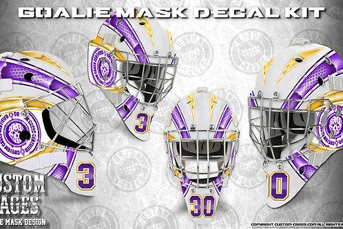 BASIC-Goalie Mask Vinyl Decal Set (gold/purple)
