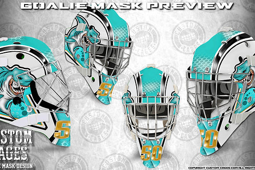 GREATWHITE-Goalie Mask Vinyl Decal Set