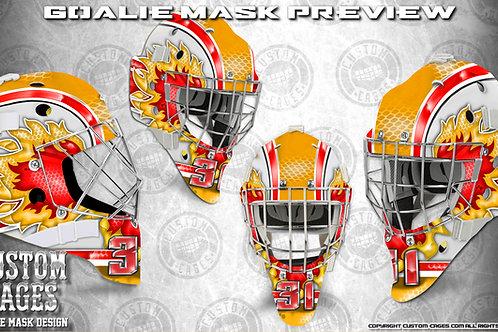 FLAMES-Goalie Mask Vinyl Decal Set