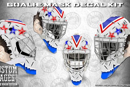RED WHITE BLUE #2-Goalie Mask Vinyl Decal Set