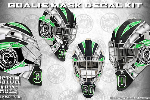 BASIC-Goalie Mask Vinyl Decal Set (white/green)