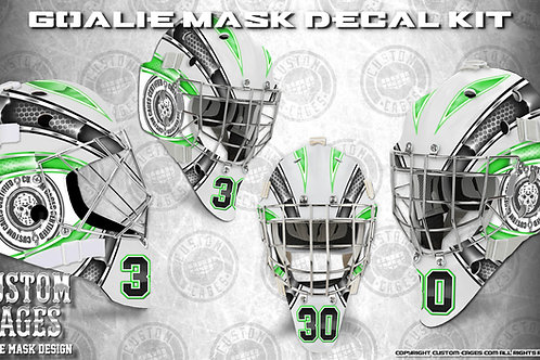 BASIC-Goalie Mask Vinyl Decal Set (green/black)