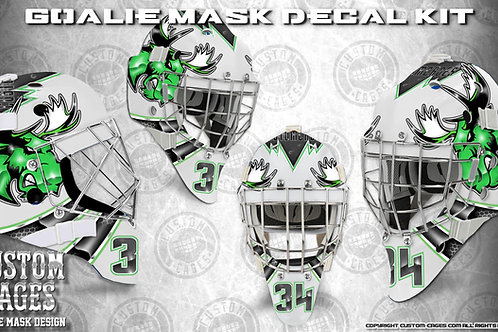 MIGHTY MOOSE-Goalie Mask Vinyl Decal Set