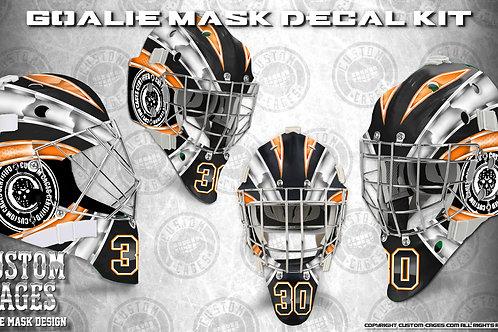 BASIC-Goalie Mask Vinyl Decal Set (white/orange)
